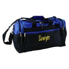 "Navy Sporty Duffle Bag  17"" x 10"" x 9""  U-shaped main compartment zipper, two end zipper compartments.  $29.00"