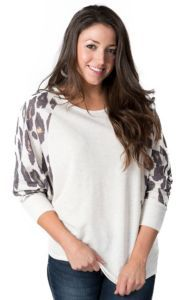 Karlie® Women's Cream with Leopard 3/4 Dolman Sleeves Sweater Knit Fashion Top | Cavender's