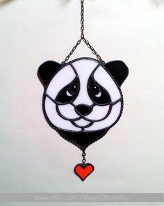 Stained Glass Panda Pendant. Black And White And Red. Handmade. Home decor. DizArtEx. by Jelena DizArtEx on Etsy #panda #pendant #homedecor