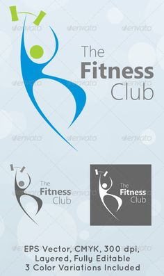 The Fitness Club Logo Template #GraphicRiver Simple, clean and modern Gym and Fitness Club logo template. Simple to work with and highly customizable, it ca be easely adjusted to fit your needs. High quality fully layered and fully editable vector EPS , easy to change colors and adjustable to any size. CMYK , 300 dpi, 3 color variations included. Font used is Segoe UI. Details in the Help file. Created: 25August11 GraphicsFilesIncluded: Font #VectorEPS Layered: No MinimumAdobeCSVersion: CS2…
