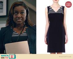 Daisy's striped panel dress on Madam Secretary.  Outfit Details: http://wornontv.net/39187/ #MadamSecretary