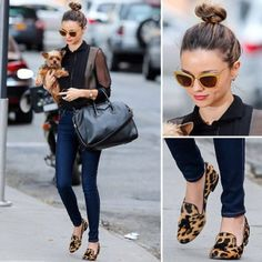 leopard loafers, top knot, big tote.