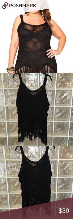 "Ashley Stewart 1X NWT Chevron Fringe Tank Sweater Brand:  Ashley Stewart Size: 1X Color:  Black Style/Specifics:    NWT - Chevron Fringe Tank Sweater   ALL MEASUREMENTS ARE APPROXIMATE AND TAKEN WITH GARMENT LAYING FLAT  Armpit to Armpit 27"" Bottom of Hem from Hip to Hip 28"" Length 34"" (At Longest Point and Measured from the Top of the Strap) Ashley Stewart Tops Tunics"
