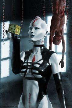 Hellraiser Cenobite by Dean Bowen Horror Icons, Horror Comics, Arte Horror, Horror Art, Aliens, Silent Horror, Female Monster, Angel Artwork, Horror Pictures