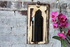 Mirror Reclaimed Vintage Indian Door Panel Wall Hanging Art Creamy Yellow Paint Moroccan Mirror Mediterranean Decor Turkish Interior