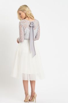 Haley Grey Bow Back Lace Top - Morning Lavender