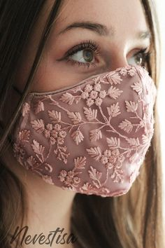 Pink Lace, Pink Roses, Pink Boutonniere, Bridal Mask, Lace Mask, Lapel Flower, Fashion Face Mask, Cute Faces, Diy Accessories