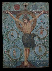 El Senor de Saucito, Mexican Retablo painted on tin.