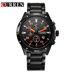 Luxury Stainless Steel Calendar Analog Watches Men Quartz Military Sport Watch