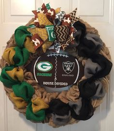 A personal favorite from my Etsy shop https://www.etsy.com/listing/555859827/greenbay-packers-wreath-oakland-raiders