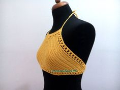 Crochet Top Crochet Crop Top, Yellow summer crochet tank tops, crop top for woman, Bustier halter lace boho Clothing - Hippie Clothes woman Crochet Tank Tops, Crochet Summer Tops, Crochet Hat With Brim, Yellow Crop Top, Bustier Top, Hippie Outfits, Summer Hats, Boho Tops, Hand Crochet