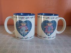 Vintage Ceramic Mugs Set of Two Made in Korea Girl by 2Crafty4You at etsy.com