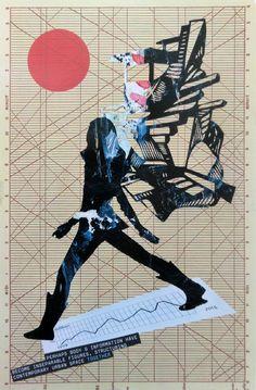 Collage » Wir wachsen mit unseren Daten (zusammen) «  30 x 40 cm | crop 20 x 30 cm   Source: Acryl Scherenschnitt simonex/2015, Times of the Signs - a visual analysis or new urban spaces 2007, climate - our future Kümmerly+Frey 1990, Second Edition - The visual Display of Quantitative Information Edward Tufte - Graphics Press 2001 Medium: Reprofotoabzug