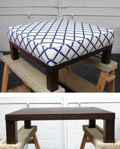DIY - Turn a cheap end table into a padded ottoman. Full Step-by-Step Tutorial. From Design SpongeOttoman DIY - Turn a cheap end table into a padded ottoman. Full Step-by-Step Tutorial. From Design Sponge Furniture Projects, Furniture Makeover, Home Projects, Home Crafts, Home Furniture, Diy Home Decor, Funky Furniture, Small Furniture, Pallet Furniture