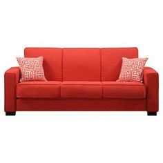 "Convertible sofa with sunrise red upholstery, box cushions, and two Greek key pillows.  Product: SofaConstruction Material: Polyester microfiber and woodColor: Sunrise red and espressoFeatures:  Espresso finished legsIncludes 2 Greek key pillows  Dimensions: 36.5"" H x 87.5"" W x 37.75"" D"