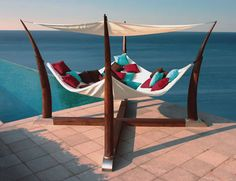 cocoon-hammock-terrace-base-henry-hall-designs - Home Decorating Trends - Homedit Hammock Bed, Hammocks, Backyard Hammock, Outdoor Hammock, Hammock Ideas, Hammock Bathtub, Hammock Stand, Wooden Hammock, Garden Cottage