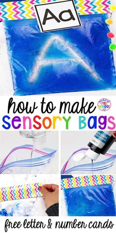 How to Make Sensory Bags PLUS a Letter and Number Card FREEBIE - Pocket of Preschool