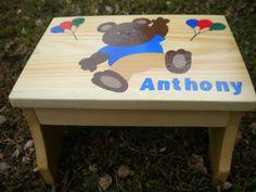 Children's Step Stool, Teddy Bear Stool, Child's Name, Handmade, Hand Painted…