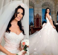 2016 Nadine Njeim Lace Wedding Dresses Sweetheart White Tulle A Line Pleated Ribbons Liques Court Train Charming Backless Bridal Gowns