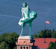 Lady Liberty has her Marilyn moment. Created by Bill MacNeil