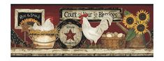 York Wallcoverings Hearts & Crafts CB5538BD Hen And Rooster Border, Red - The Savvy Decorator