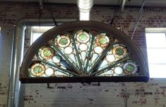 Antique Arched Peacock Stained Glass Transom Window