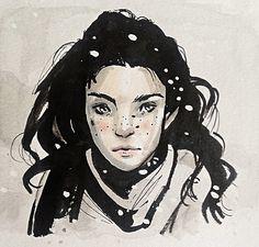 Snowy days, model ref from Zang media. #Portrait #drawing #snow
