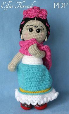 Elfin hilo Frida Kahlo Amigurumi muñeca PDF patrón por ElfinThread