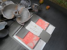 could be ordered in Gold & Peach!Lace Wedding Invitation- The Venetian on Peach. $5.25, via Etsy.