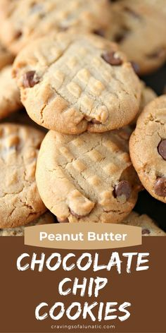 These homemade Peanut Butter Chocolate Chip Cookies are super easy to make and loaded with chocolate chips. Every bite is perfection! #peanutbuttercookie #chocolatechipcookie #cookie #chocolate #baking Homemade Peanut Butter, Healthy Peanut Butter, Chocolate Peanut Butter, Chocolate Chips, Chocolate Chip Cookies, Best Dessert Recipes, Fun Desserts, Sweet Recipes, Delicious Desserts