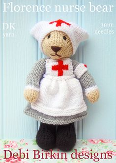 Florence Nurse Bear... I just love the old-school nursing cap on this Debi Birkin knitted toy. Available on ravelry: http://www.ravelry.com/patterns/library/nurse-bear