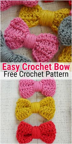 52 Free Crochet Bow Patterns - Her Crochet - lara Crochet Bows Free Pattern, Easy Crochet Hat, Crochet Shell Stitch, Bobble Stitch, Chunky Crochet, Crochet Patterns For Beginners, Easy Crochet Patterns, Crochet Beanie, Cute Crochet