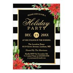 Shop Poinsettia Floral Gold Frame Striped Holiday Party Invitation created by CardHunter. Personalize it with photos & text or purchase as is! Christmas Dinner Invitation, Dinner Party Invitations, Christmas Stationery, Christmas Party Invitations, Personalised Party Invitations, Zazzle Invitations, Invites, Personalized Gifts, Merry Christmas