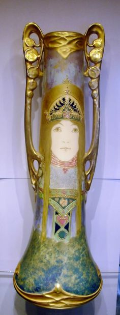Amphora Paul Dachsel Vase with Portrait of a Woman Turn Teplitz Bohemia, R St K