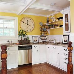 4 Attentive Tips AND Tricks: Kitchen Remodel Modern Home Tours kitchen remodel design tile.Kitchen Remodel With Island Breakfast Nooks large kitchen remodel farmhouse sinks. Updated Kitchen, New Kitchen, 1970s Kitchen, Long Kitchen, Narrow Kitchen, Kitchen Paint, Kitchen Island, Kitchen Decor, Yellow Kitchen Walls