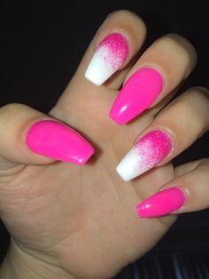 Neon Pink Nails, Neon Acrylic Nails, Acrylic Nail Powder, Powder Nails, Red Nails, Purple Nail, Aycrlic Nails, Fall Nails, Shellac