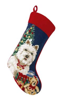 Decorate your holiday mantel this year with new Christmas stockings for everyone in your family! The Well Appointed House has a large collection of holiday needlepoint stockings. The stocking measures X Order now for Christmas delivery! Kids Christmas Stockings, Dog Christmas Stocking, Cross Stitch Christmas Stockings, Christmas Stocking Holders, Diy Christmas Tree, Christmas Cross, Christmas Themes, Westies, Westie Dog