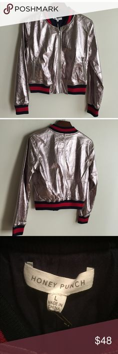 Urban Outfitters Metallic Varsity Jacket! Metallic works for casual and evening! Brand new with tags purchased directly from manufacturer. measures 40 bust, 34 sleeves21 from top to bottom. Size Large. Urban Outfitters Jackets & Coats