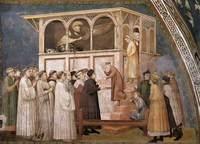 I tre affreschi del ciclo giottesco di Francesco nel transetto della basilica inferiore: Resurrezione del ragazzo a Suessa