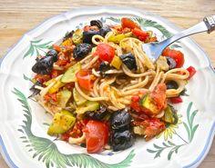 Mediterranean vegetable spaghetti: gluten free, dairy free | Deliciously Ella