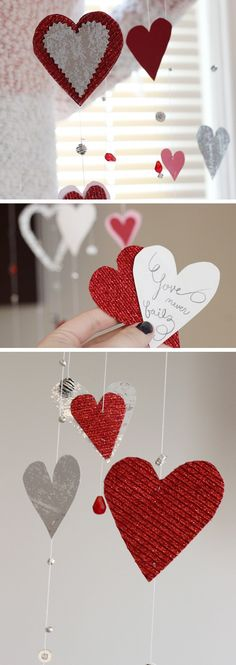 Valentine's Day Window Garlands | Click Pic for 26 DIY Valentines Day Crafts for Kids to Make | Easy Valentine Crafts for Toddlers to Make