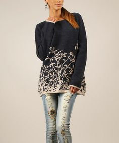 Look at this Navy & Beige Floral Wool-Blend Sweater on #zulily today!