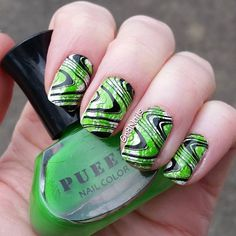 """This is one of those manicures that look so much better on my hands then it does on film. Just couldn't capture the color right... Going to see Wicked today so I had to use this awesome green by @pueencosmetics """"Amazon Moss"""" Perfect for any wicked witch design! Stamping plates by @linanailartsupplies """"Make Your Mark 1 & 3"""" #naildesigns #nailstamping #nailart"""