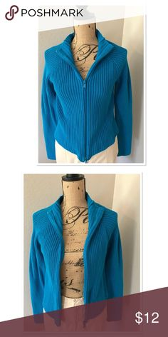 Gorgeous bright blue NY&Co zip up sweater Comfy and pretty all in one! This is a bright blue zip up sweater by New York & Co.  May be worn zipped up or open. New York & Company Sweaters