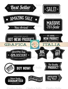 Label Clipart Set - Sticker Clip Art - Blank Frame Banner Template by graficaitalia