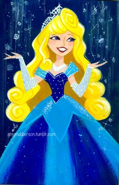 amymebberson:  Aurora threw a little party at her place yesterday.Disneyland 60th Anniversary July 17 2015Gouache on wood