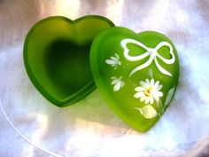 Vintage Green Slag Hand painted Heart Trinket or  by ChinaGalore, $18.00
