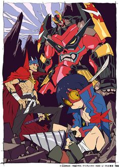 Art bydirector Hiroyuki Imaishi (also Dead Leaves and Panty and Stocking) Source: http://www.crunchyroll.com/anime-news/2013/06/21-1/gainax-ends-tribute-art-series-with-mecha-designers-look-inside-gurren-lagann