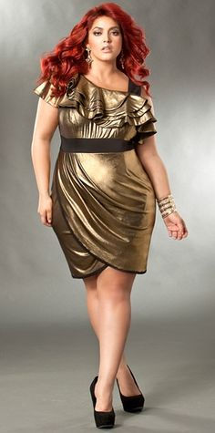 """Double click on above image to view full picture      More Views   """"Carrie"""" Gold Metallic Ruffle Dress"""