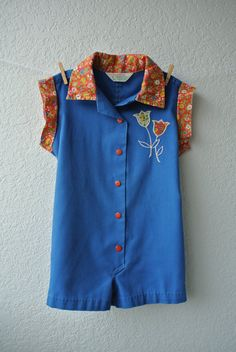 Vintage Toddler Clothes  Blue Button Up Coveralls by NellsNiche, $18.00
